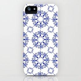 Floral ornament in dark blue iPhone Case