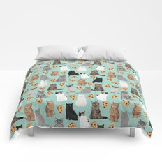Cats with Pizza slices cheesy food funny cat lover gifts by pet friendly pet portraits Comforters