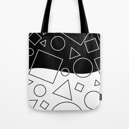Black and White Geometric Shapes Wave Tote Bag