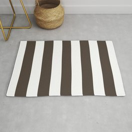 Dark taupe brown - solid color - white vertical lines pattern Rug