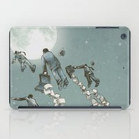 men iPad Cases featuring Flight of the Salary Men (color option) by Eric Fan