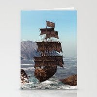 pirate ship Stationery Cards featuring Pirate Ship by Simone Gatterwe