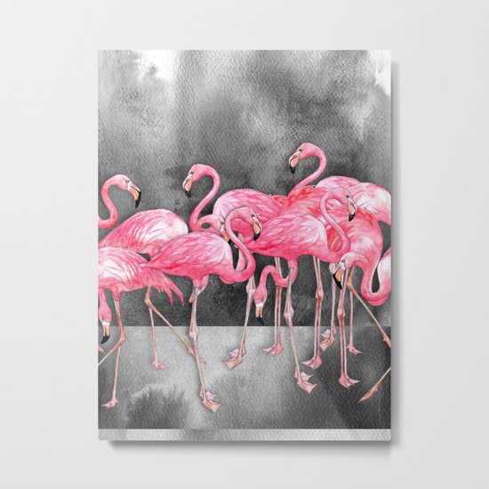 Flamingo Collage in Watercolor and Ink Metal Print