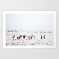 russian Art Prints featuring Winter Horses by Kevin Russ