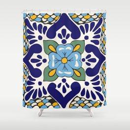 Talavera Blue Green Mosaic Shower Curtain