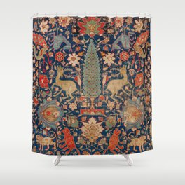 17th Century Persian Rug Print with Animals Shower Curtain