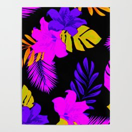 Tropical Floral Delight Mixed Pink Poster