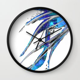 Abstract Blue And White Art - Flowing 5 - Sharon Cummings Wall Clock