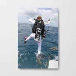 Scuba Diver Jump Metal Print