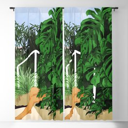 Hiding in Green Painting, Tropical Nature Monstera Illustration, Woman In Jungle Painting Blackout Curtain
