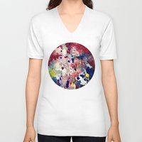 fireworks V-neck T-shirts featuring Fireworks by Tia Hank