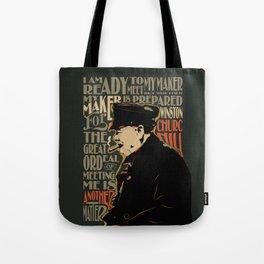 Winston Churchill Pop Art Quote Tote Bag