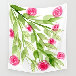 Pink Rosebuds in Watercolor Wall Tapestry