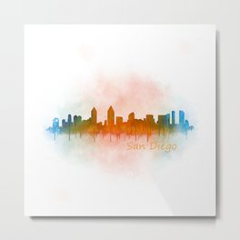 San Diego California City Skyline Watercolor v04 Drk Metal Print