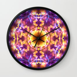 Neon Lights Mandala v.2 Wall Clock