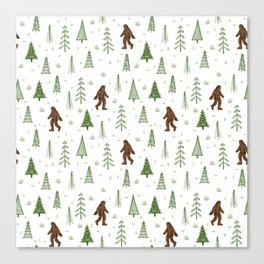 trees + yeti pattern in color Canvas Print