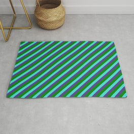 Turquoise, Dark Slate Blue & Green Colored Stripes/Lines Pattern Rug