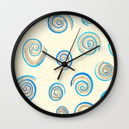 Grey and Blue Spirals Wall Clock