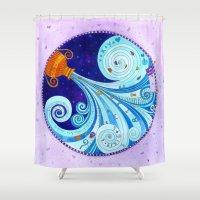 aquarius Shower Curtains featuring Aquarius by Sandra Nascimento