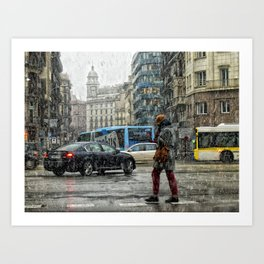 Nieve en Barcelona Art Print
