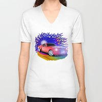 mustang V-neck T-shirts featuring 65 Mustang by JT Digital Art