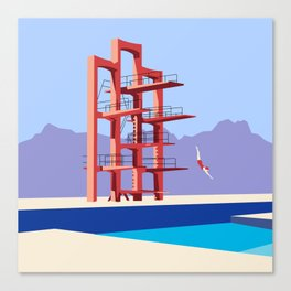 Soviet Modernism: Diving tower in Etchmiadzin, Armenia Canvas Print