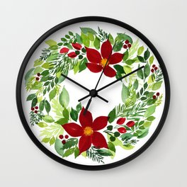 Crimson and Clover Wall Clock