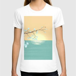 Delicate Asian Inspired Image of Pastel Sky and Lake with Silver Leaves on Branch T-shirt