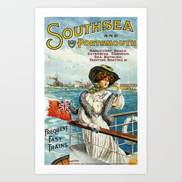 Vintage Southsea Portsmouth England Travel Art Print