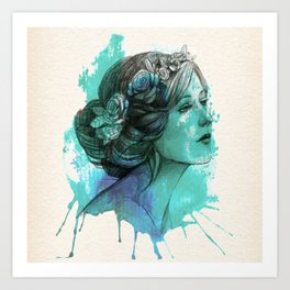 Woman with floral wreath in watercolor Art Print