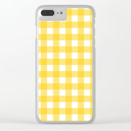 White & Yellow Gingham Pattern Clear iPhone Case
