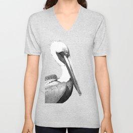 Black and White Pelican Unisex V-Neck