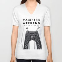 vampire weekend V-neck T-shirts featuring Vampire Weekend / George Washington Bridge by Harold's Visuals