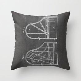 Steinway Grand Piano Patent - Piano Player Art - Black Chalkboard Throw Pillow