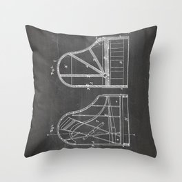 Steinway Grand Piano Patent - Piano Player Art - Black Chalkboard Throw Pillow