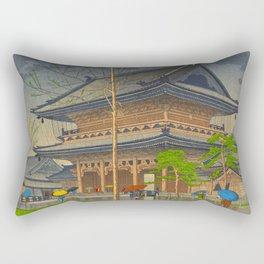 Rain in Higashi-Honganji Temple, Kyoto Asano Takeji Japanese Woodblock Print Rectangular Pillow