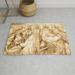 """Dante Gabriel Rossetti """"King Arthur and the Weeping Queens"""" Rug"""