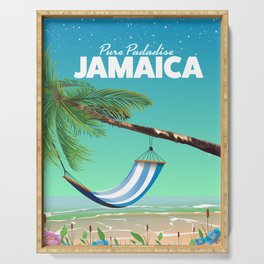 'Pure Paradise' Jamaica travel poster Serving Tray