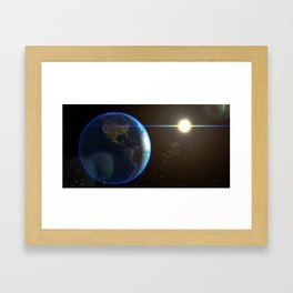 Night Lighted Earth from space Framed Art Print
