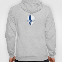 Flag of Finland on a Chaotic Splatter Skull Hoody