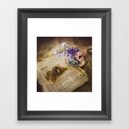 Still Life- Hyacinths and Old Newspaper Framed Art Print