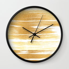 Abstract faux gold white modern paint brushstrokes Wall Clock