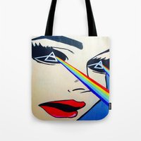 floyd Tote Bags featuring Pink Floyd by Gabrielle Wall