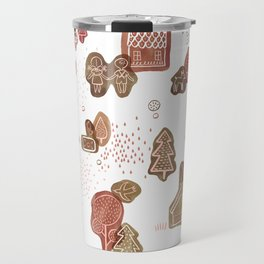 Hansel and Gretel Fairy Tale Gingerbread Pattern on White Travel Mug