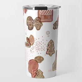 Hansel and Gretel Fairy Tale Gingerbread Pattern on White Travel Mug