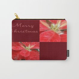 Mottled Red Poinsettia 1 Ephemeral Merry Christmas Q10F1 Carry-All Pouch