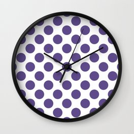 Ultra Violet Thalertupfen Pōlka Large Round Dots Pattern Wall Clock
