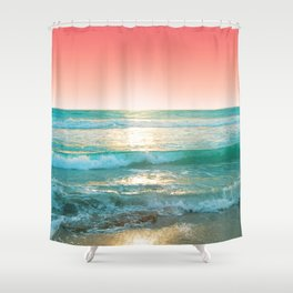 Aqua and Coral, 1 Shower Curtain