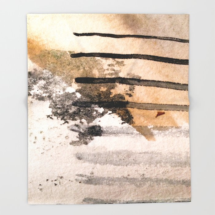 Desert Musings - a watercolor and ink abstract in gray, brown, and black Throw Blanket