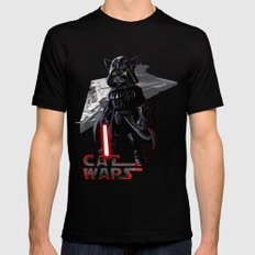 Cat Darth Vader  Mens Fitted Tee Black LARGE